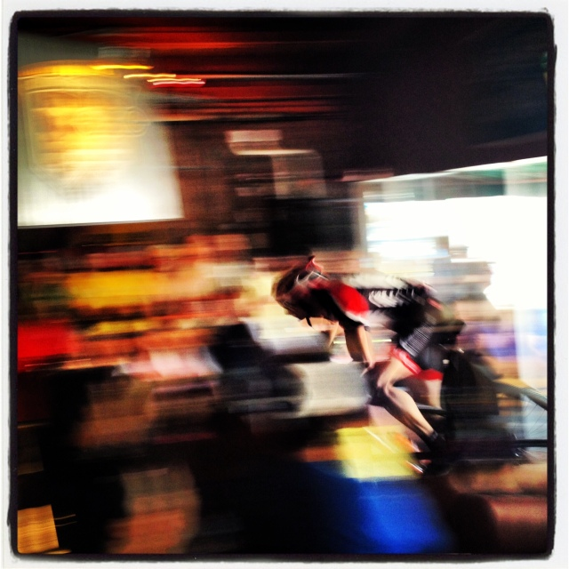 Pro racers fly right through the middle of the bar area at Steamworks Brewery.  Priceless.