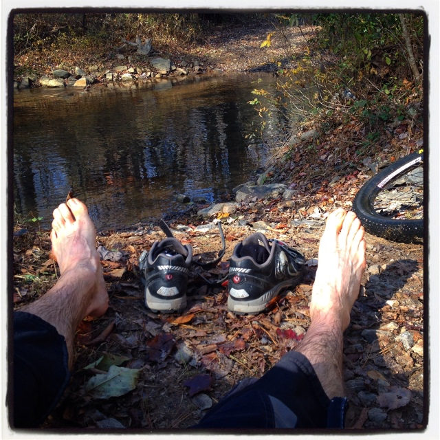 Post creek crossing.  Feet are numb, in water almost up to my knees.  Luckily it's low tide in November.